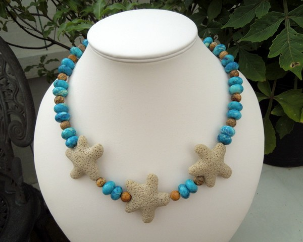 Blue and Brown Jasper Beach necklace 002